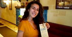 Friendly hostess at Greek Islands Restaurant in Chicago