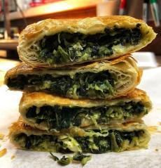 The famous Spanakopita (Spinach Pie) at Gyros Express in Villa Park