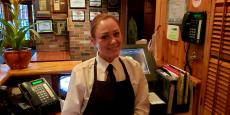 Friendly server at Jameson's Charhouse in Arlington Heights
