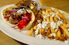 Souvlaki in a Pita at Kefi Greek Cuisine in Palos Heights
