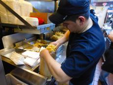Hard working kitchen staff at Kosta's Gyros in Algonquin