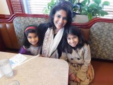 Mom and kids at Omega Restaurant in Downers Grove
