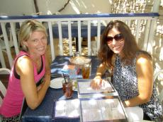 Best friends enjoying lunch on the patio at Mykonos restaurant in Niles