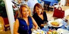Enjoying dinner on the outdoor patio at Mykonos Greek Restaurant in Niles
