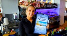 Friendly bar server at Naxos, A Greek Island Restaurant in Itasca