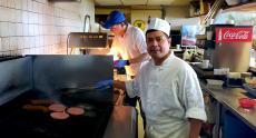 Hard working kitchen crew at Nick's Drive-In Restaurant Chicago