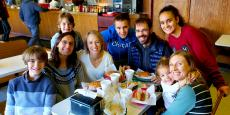 Family enjoying lunch at Nick's Drive In Restaurant in Chicago