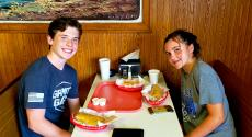 Brother and sister enjoying lunch at Nick's Drive In Restaurant Chicago
