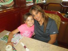 Mom and daughter enjoying lunch at Omega Restaurant & Pancake House in Downers Grove