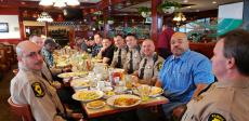 State Police enjoying breakfast at Omega Restaurant & Pancake House in Downers Grove