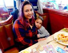 Mom & daughter enjoying breakfast at Omega Restaurant & Pancake House in Downers Grove