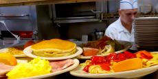Assorted breakfast dishes at Omega Restaurant & Pancake House in Downers Grove