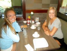 Friends enjoying lunch at the newly renovated Omega Pancake House in Schaumburg