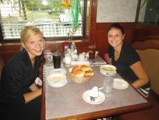 Friends enjoying lunch at Omega Pancake House in Schaumburg