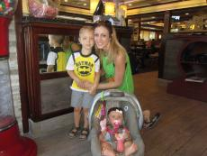 Mom and kids getting carry-out at Omega Restaurant & Pancake House in Schaumburg