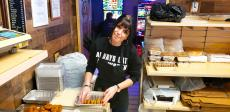 Preparing Greek cookies at Papagalino Cafe & Pastry Shop in Niles