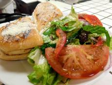 The Mediterranean Chicken Panini at Papagalino Cafe & Pastry Shop in Niles