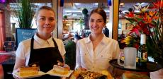 Friendly servers at Papagalino Cafe & Pastry Shop in Niles