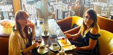 Sisters enjoying sweet treats at Papagalino Cafe & Pastry Shop in Niles