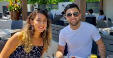Couple enjoying lunch at Plateia Mediterranean Kitchen & Bar in Des Plaines