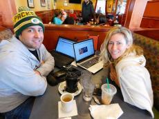Couple enjoying lunch at Pomegranate Restaurant in Aurora