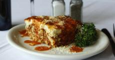 The famous Pastichio at Psistaria Greek Taverna in Lincolnwood
