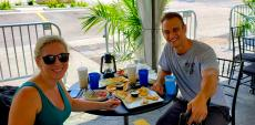 Couple enjoying lunch at QP Greek Food With A Kick in Hoffman Estates