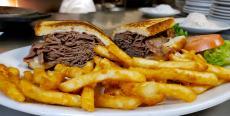 The famous Roast Beef Melt at Rose Garden Cafe in Elk Grove Village
