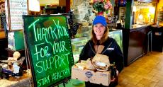 Loyal carryout customer at The Rose Garden Cafe in Elk Grove Village