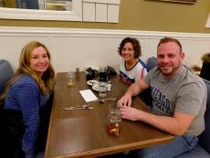 Friends enjoying breakfast at Southern Belle's Pancake House in Carpentersville