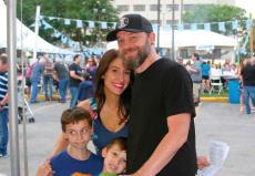 Family enjoying the Lincoln Park Greek Fest at St. Demetrios in Chicago