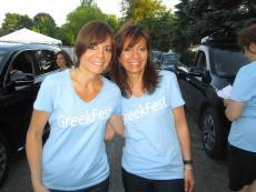 Friendly volunteers working the drive-thru at St. Nectarios Greek Fest in Palatine
