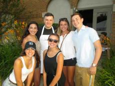 Volunteers and friends enjoying the St. Sophia Greek Fest in Elgin