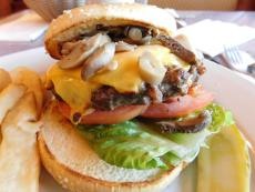 Tasty mushroom burger at Omega Pancake House and Restaurant in Schaumburg