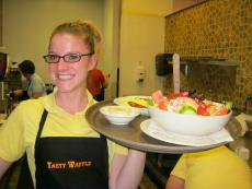 Friendly server at Tasty Waffle Pancake House in Romeoville