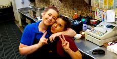 Servers enjoying a moment at Tasty Waffle Restaurant Romeoville