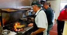 Hard working kitchen crew at Teddy's Diner in Elk Grove Village