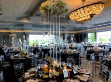 Beautifully decorated ballroom at Odyssey Country Club in Tinley Park