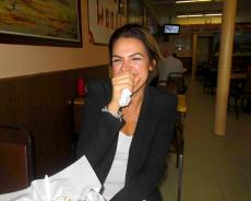 Loyal customer enjoying lunch at The Works Gyros in Glenview