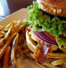 The famous Dagwood Burger at Xando Cafe in Hickory Hills
