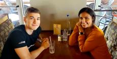 Couple enjoying lunch at Xando Cafe in Hickory Hills
